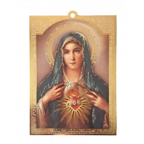 """Svētbilde uz plāksnes """"Vissvētākās Jaunavas Marijas sirds"""" 9,5 x 14 cm"""