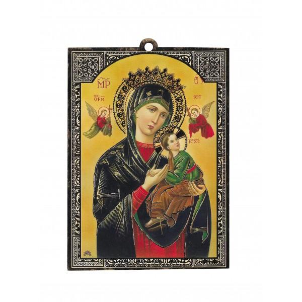"""Svētbilde uz plāksnes """"Nemitīgās Palīdzības Dievmāte"""" 10 x 13,5 cm"""