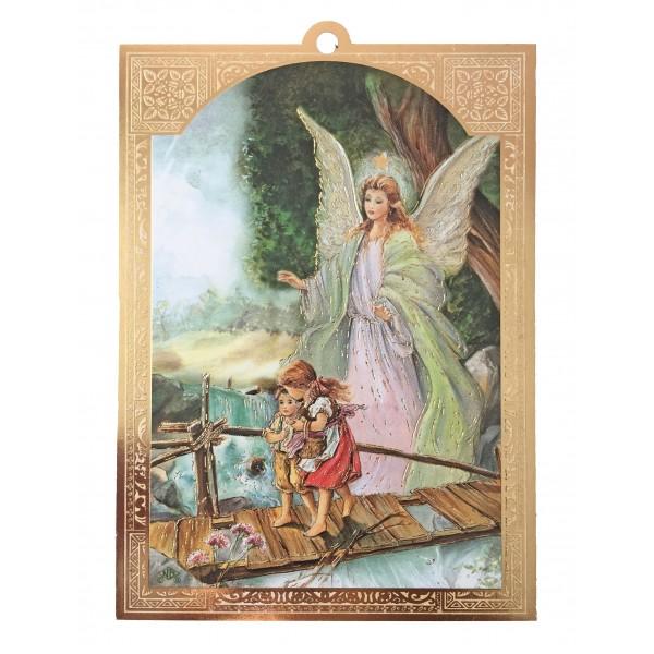 """Svētbilde uz plāksnes """"Sargeņģelis"""" 10 x 13,5 cm"""
