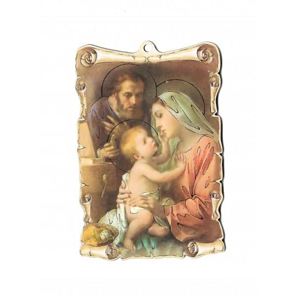 """Svētbilde uz plāksnes """"Svētā Ģimene"""" 9,5 x 14 cm"""