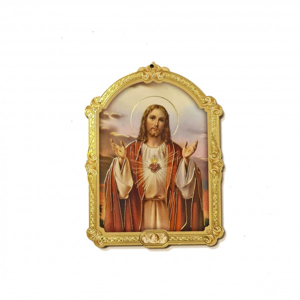 Svētbilde uz plāksnes Jēzus Sirds 7 x 9.5 cm