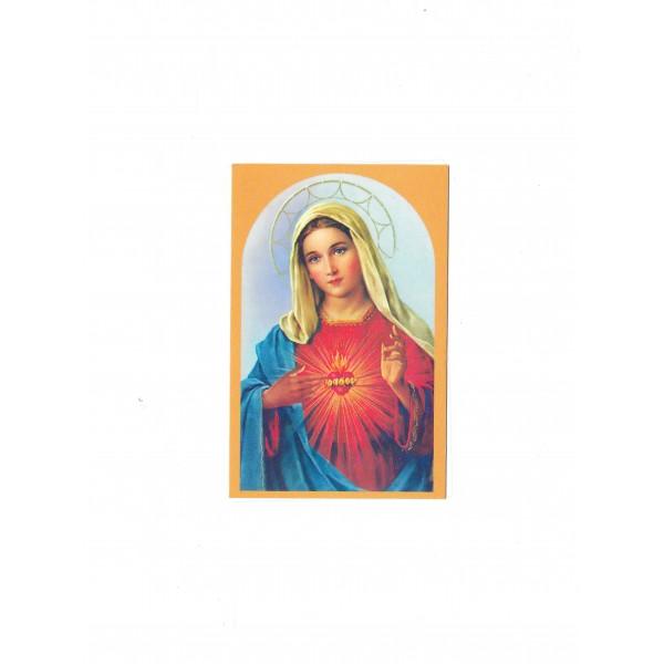 """Svētbilde uz kartona """"Vissvētākās Jaunavas Marijas sirds"""" 6,5 x 10 cm"""
