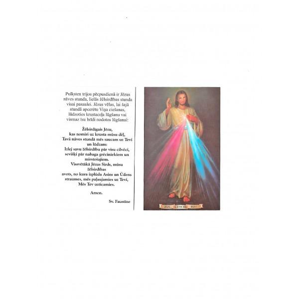 Žēlsirdīgais Jēzu svētbilde uz kartona ar lūgšanu